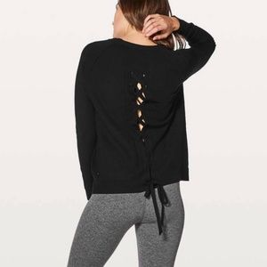 Lululemon Tied To You Sweater Lace Up Back Black 2